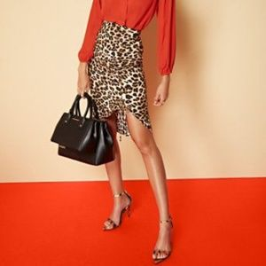 NY & Company leopard print ruched pencil skirt.